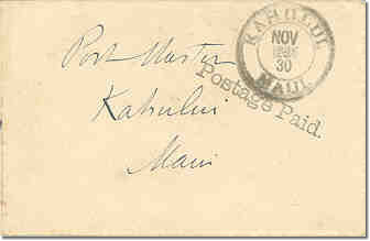 Stampless Kahului Postage Paid 30Nov