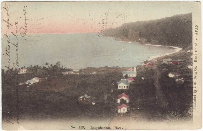 Laupahoehoe Village from 1908 post card